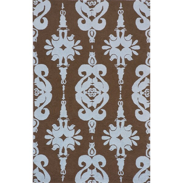 Momeni Lil Mo Classic Baby Blue Damask Hand-Hooked Cotton Rug (2' X 3')