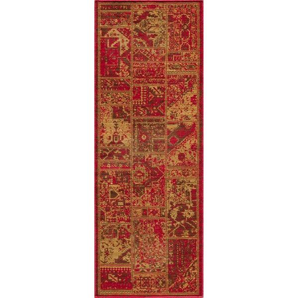 "Vintage Hamadan Patchwork Sunset Red New Zealand Wool Rug (1'8"" x 2'8"")"