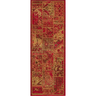 "Vintage Hamadan Patchwork Sunset Red New Zealand Wool Rug (1'8"" x 2'8"")"