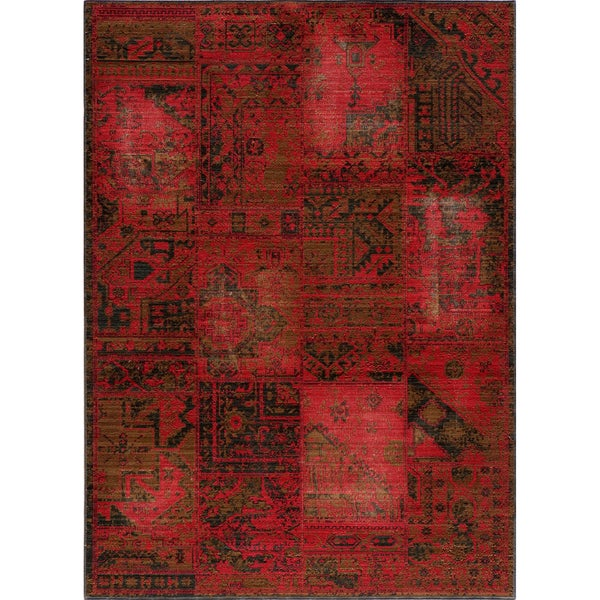 "Vintage Hamadan Patchwork Red New Zealand Wool Rug (1'8"" x 2'8"")"