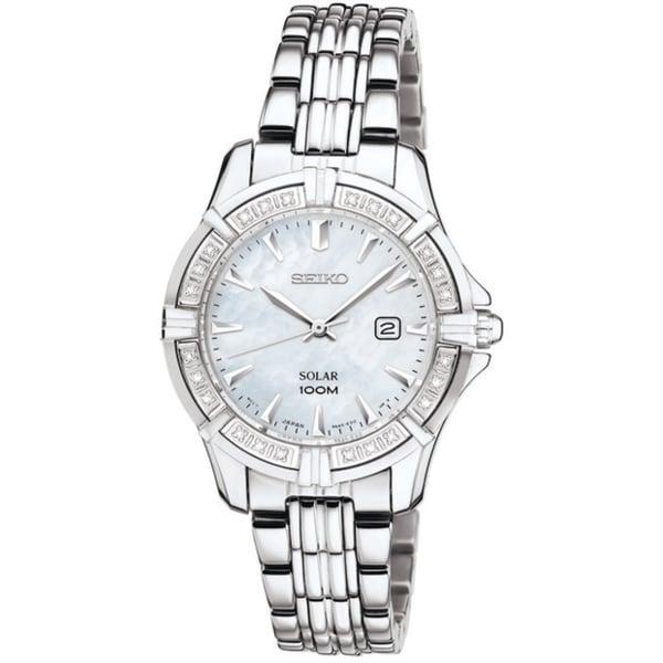 Seiko Women's Solar Mother of Pearl Dial Silver Diamond Watch