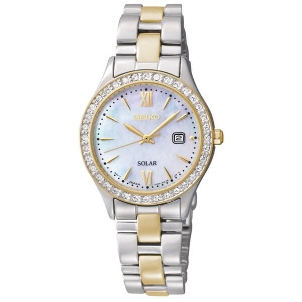 Seiko Women's Solar Mother of Pearl Dial Gold Diamond Watch
