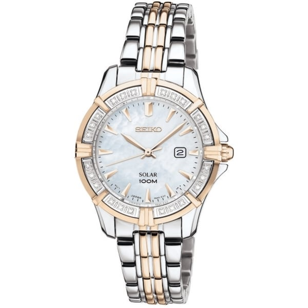 Seiko Women's Solar Mother of Pearl Dial Gold Diamond Watch