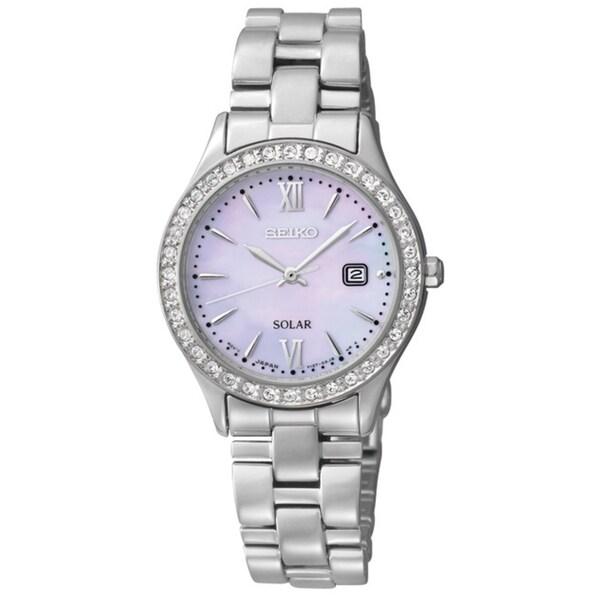 Seiko Women's Solar Mother of Pearl Dial Diamond Watch