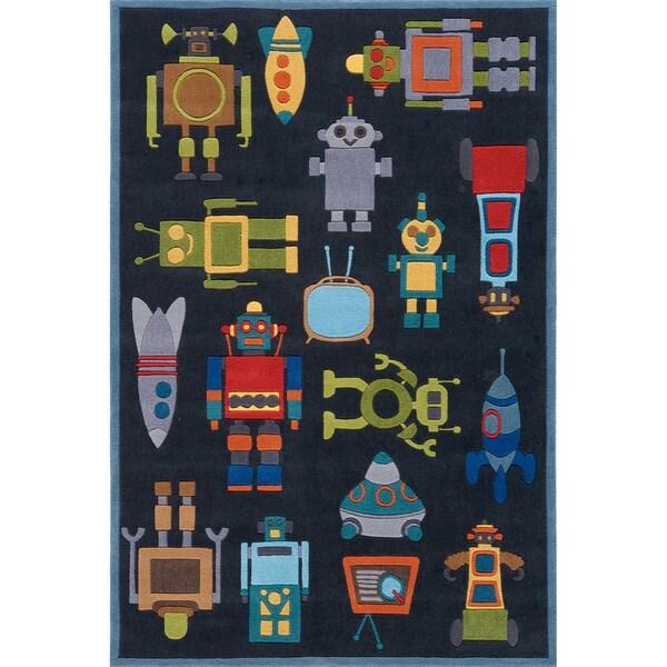 Momeni 'Lil Mo Robots Steel Rug