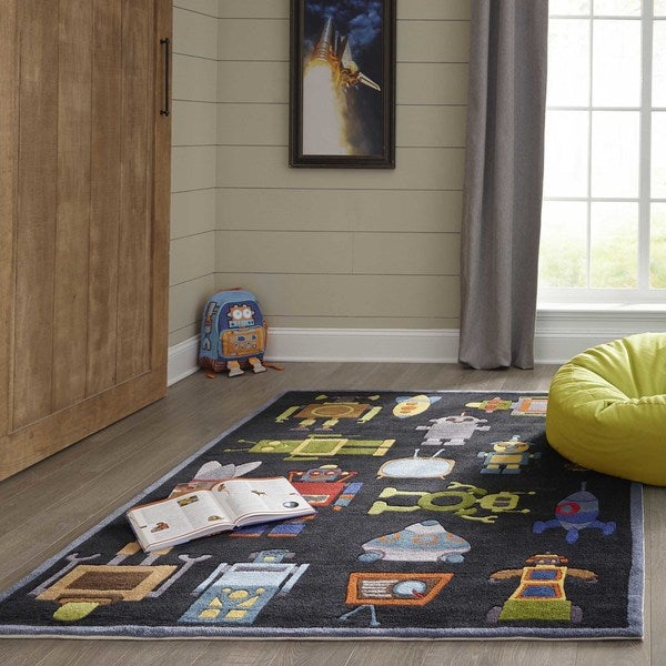 Momeni Lil Mo Whimsy Steel Blue Robots Hand-Tufted and Hand-Carved Rug (2' X 3')