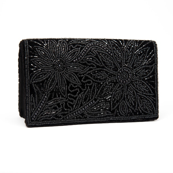 Black Silk Velvet and Embroidered Evening Bag (India)
