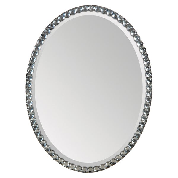 Ren Wil Silver Crystal Frame Oval Mirror