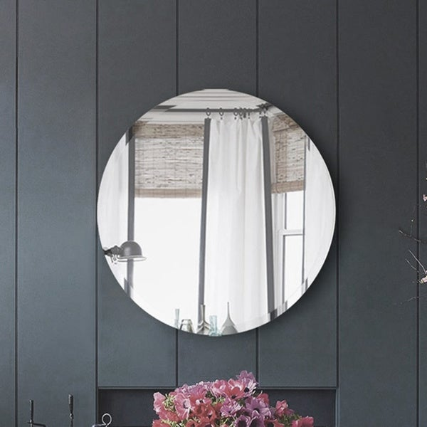 Silver Orchid Beavers Frameless Beveled Round Mirror. Opens flyout.