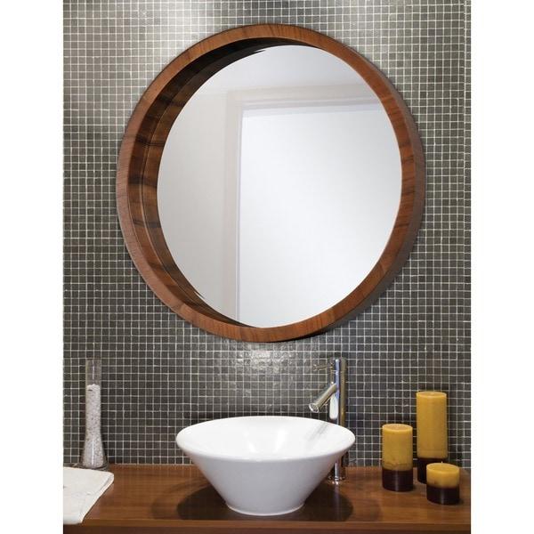 Ren Wil Walnut Frame Beveled Round Mirror - Free Shipping Today ...