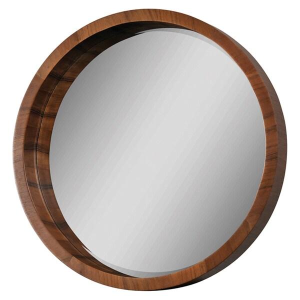 Ren Wil Walnut Frame Beveled Round Mirror