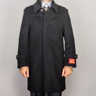 Men's Black Wool/ Cashmere Blend Modern Coat