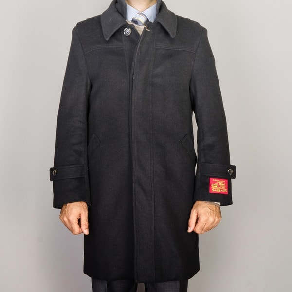 Men's Black Wool/ Cashmere Blend Modern Coat