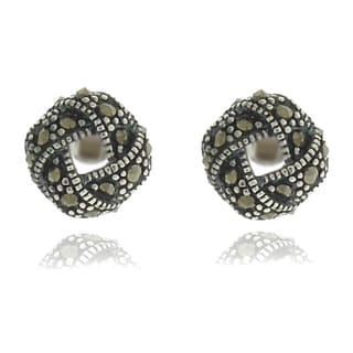 Dolce Giavonna Silverplated Marcasite Knot Stud Earrings