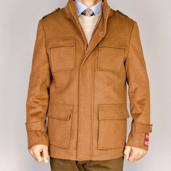 Men's Chesnut Wool/Cashmere Blend Snap Placket Coat