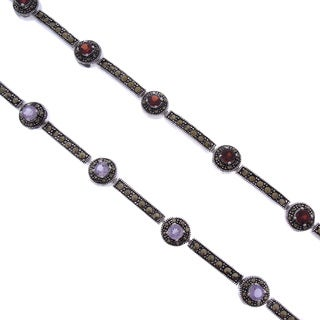 Dolce Giavonna Silverplated Amethyst or Garnet and Marcasite Bar Link Bracelet