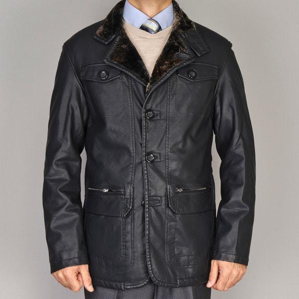 Men's Black Faux Leather Coat