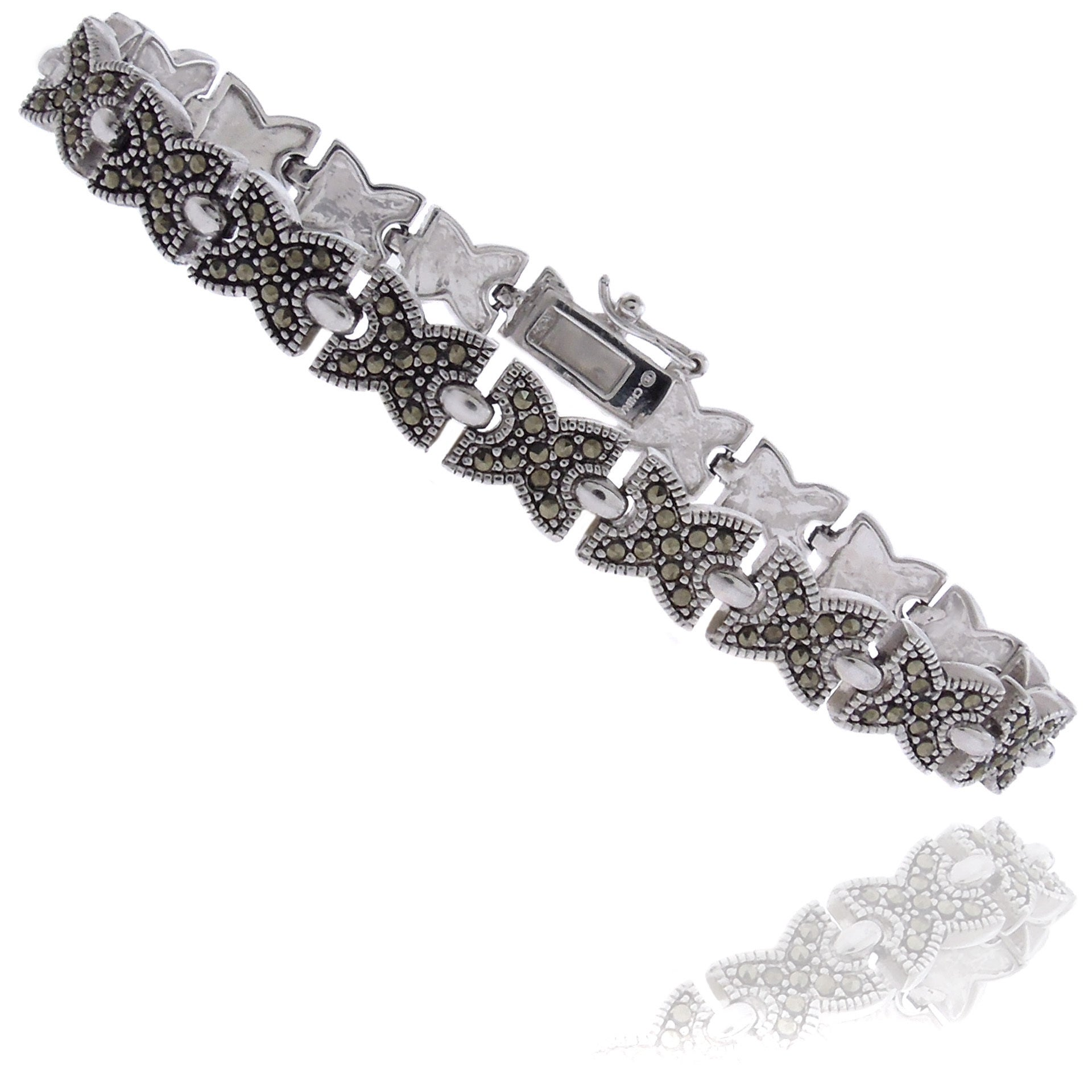 Dolce Giavonna Silverplated Marcasite 'xo' Bracelet, Wome...