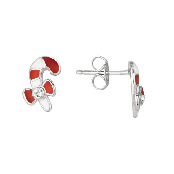 Sterling Silver Round Crystal and Enamel Candy Cane Earrings