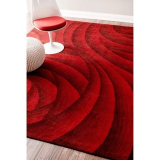 nuLOOM Handmade Swirls Red New Zealand Wool Rug (7'6 x 9'6)