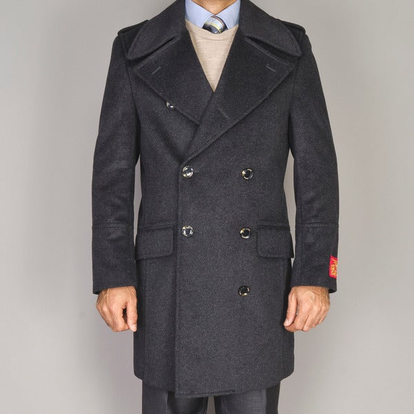 Men's Wool/Cashmere Blend Double-breasted Coat - Free Shipping ...