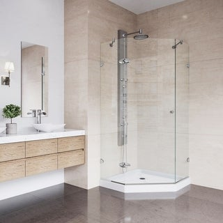 VIGO 36 x 36 Frameless Neo-Angle 3/8-inch Clear Shower Enclosure with Low-Profile Base