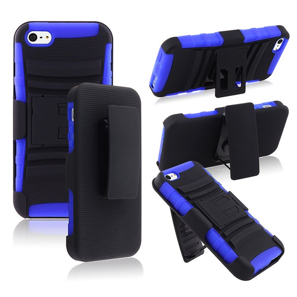 BasAcc Blue/ Black Hybrid Case with Stand for Apple® iPhone 5