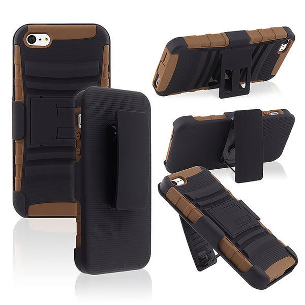 BasAcc Brown/ Black Hybrid Case with Stand for Apple® iPhone 5/ 5S