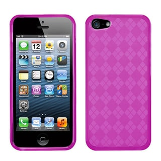 BasAcc Hot Pink Checker TPU Rubber Skin Case for Apple® iPhone 5