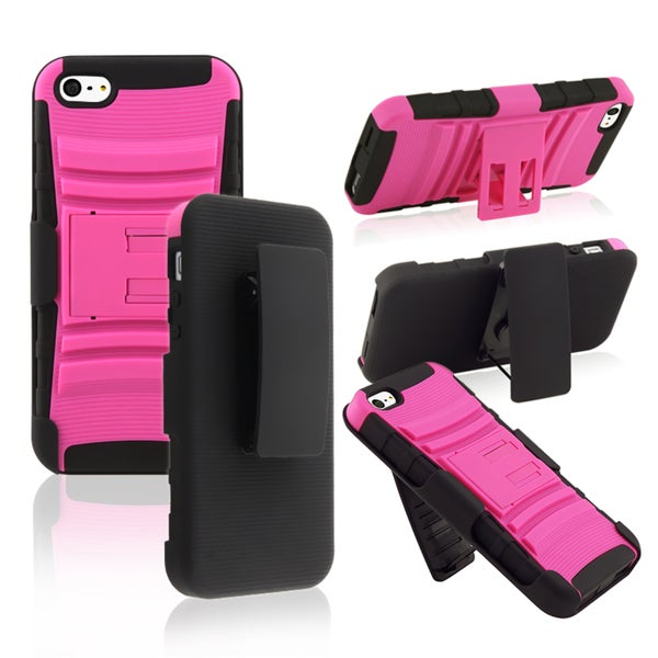 BasAcc Black/ Pink Hybrid Case with Stand for Apple® iPhone 5