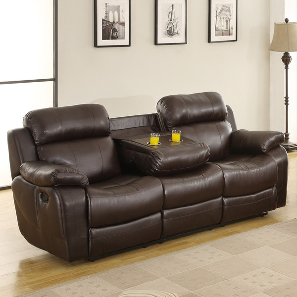 Tribecca home eland brown cupholder recliner sofa free shipping