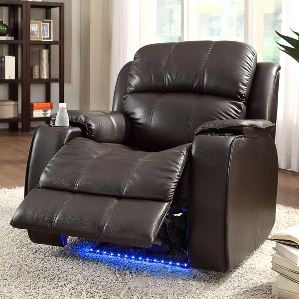 Garrett Power Recliner Brown Bonded Leather Chair by TRIBECCA HOME