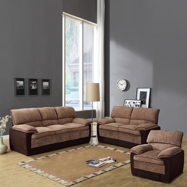 Hendris Brown Corduroy Microfiber 3-piece Living Room Set