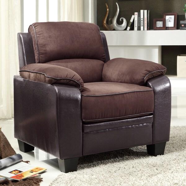 Morena Dark Brown Two-Tone Microfiber Contemporary Chair