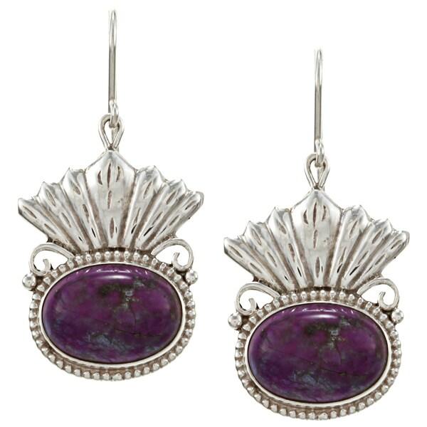 Sterling Silver Chalcedony Stone Earrings (Nepal)