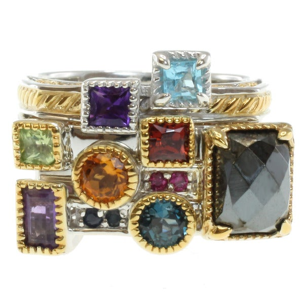 Michael Valitutti Two-tone Multi-gemstone Manhattan Stackable Ring Set