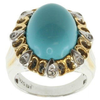 Michael Valitutti Two-tone Reconstituted Turquoise Ring