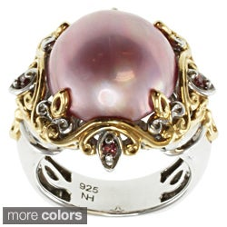 Michael Valitutti Two-tone Mabe Pearl and Diamond Ring