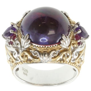 Michael Valitutti Two-tone Silver Purple Mabe Pearl and Gemstone Ring