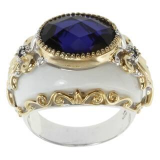 Michael Valitutti Two-tone Silver White Agate and Tanzanite Quartz Ring|https://ak1.ostkcdn.com/images/products/7338265/7338265/Michael-Valitutti-Two-tone-Silver-White-Agate-and-Tanzanite-Quartz-Ring-P14803635.jpg?impolicy=medium