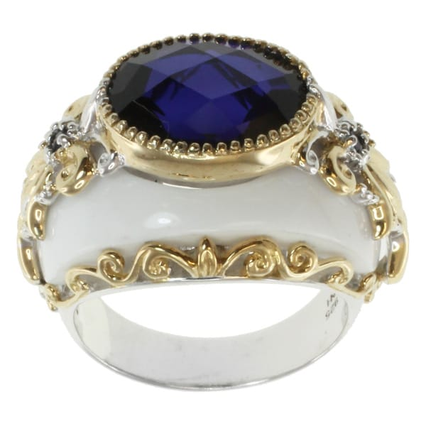 Michael Valitutti Two-tone Silver White Agate and Tanzanite Quartz Ring