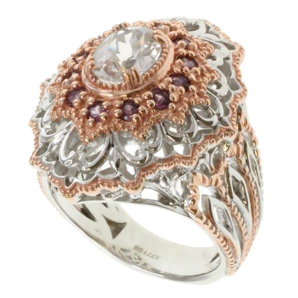 Michael Valitutti Two-tone Silver Morganite and Rhodalite Ring