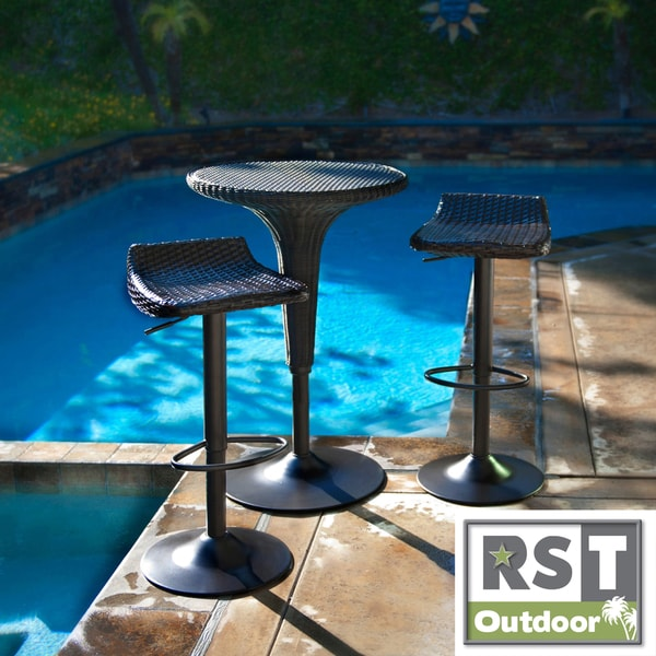 RST Woven Wicker Barstools and Bar Table Set