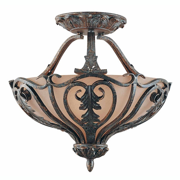Passion Bronze Oro 3-light Semi-flush Fixture
