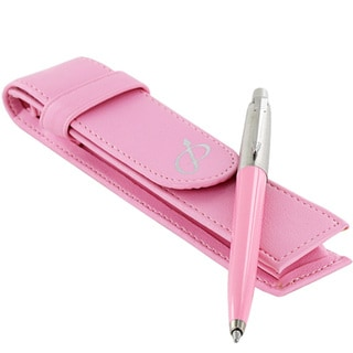 Parker Jotter Pink Ribbon Retractable Pen with Pink Leather Pen Pouch