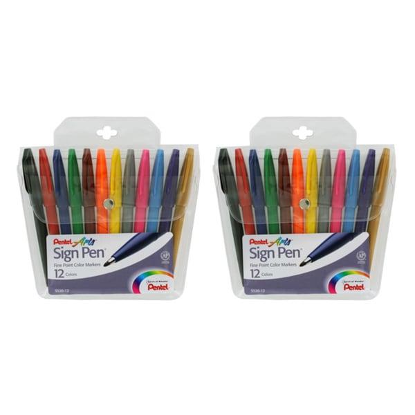 Pentel Felt Tip Sign Pen Set (Pack of 2 Sets)