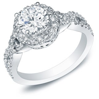Auriya 14k White Gold 1 1/2ct TDW Certified Round Infinity Halo Diamond Engagement Ring