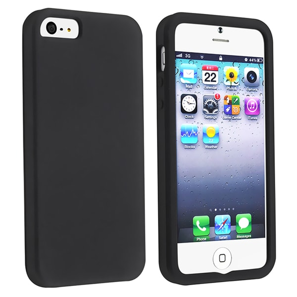 BasAcc Black Silicone Skin Case for Apple iPhone 5