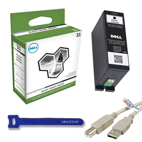 Genuine Dell Series 31 Black Ink Cartridge for V525w/V725w / 6-inch USB Cable / Velcro Tie