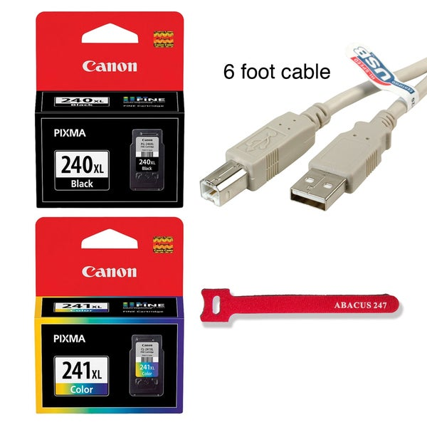 Genuine Canon PG-240XL Black + CL-241XL Color Ink Cartridge (6ft USB Cable + Hook and Loop Tie included)